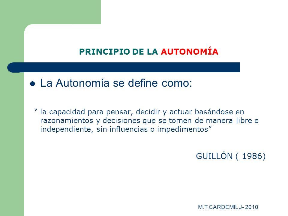 PRINCIPIO DE LA AUTONOMÍA