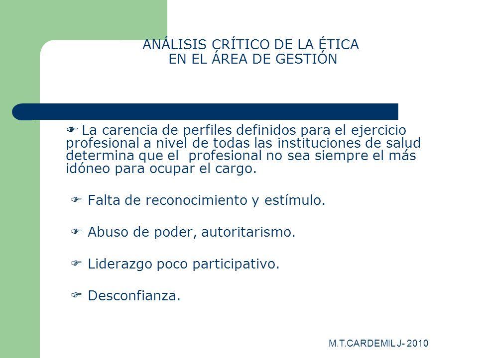 ANÁLISIS CRÍTICO DE LA ÉTICA EN EL ÁREA DE GESTIÓN