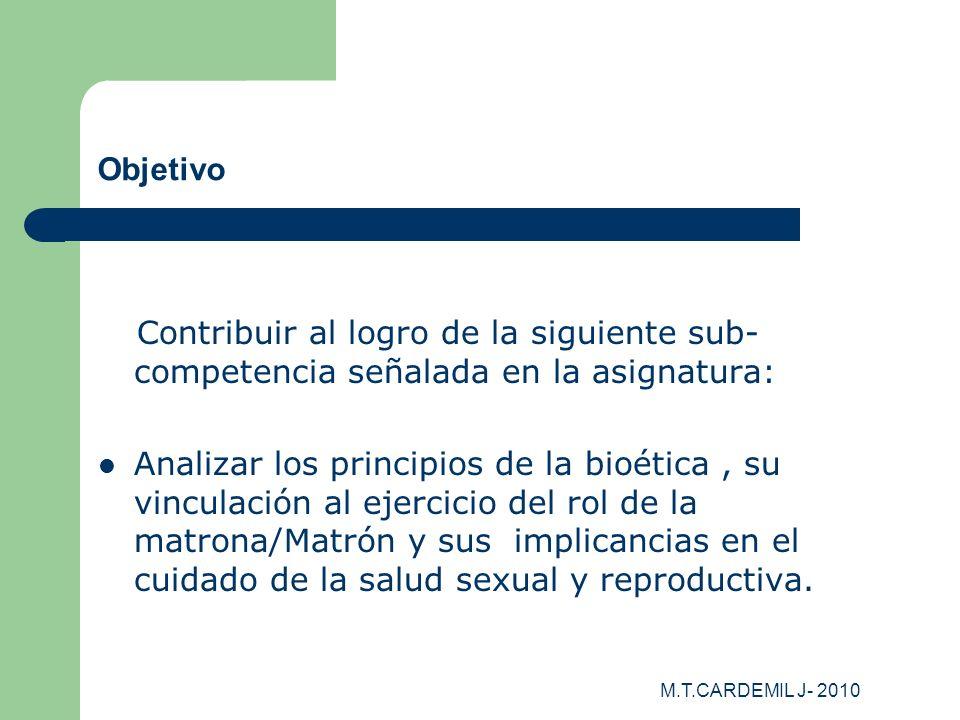 Objetivo Contribuir al logro de la siguiente sub-competencia señalada en la asignatura: