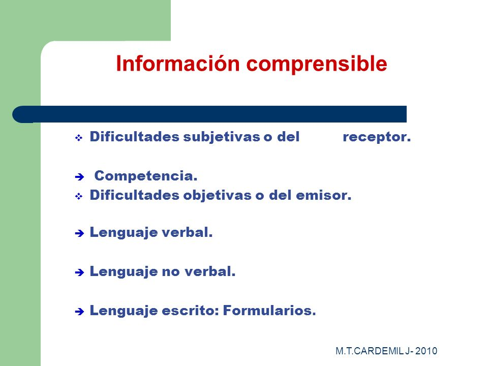 Información comprensible