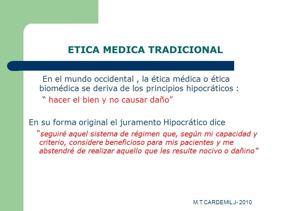 ETICA MEDICA TRADICIONAL