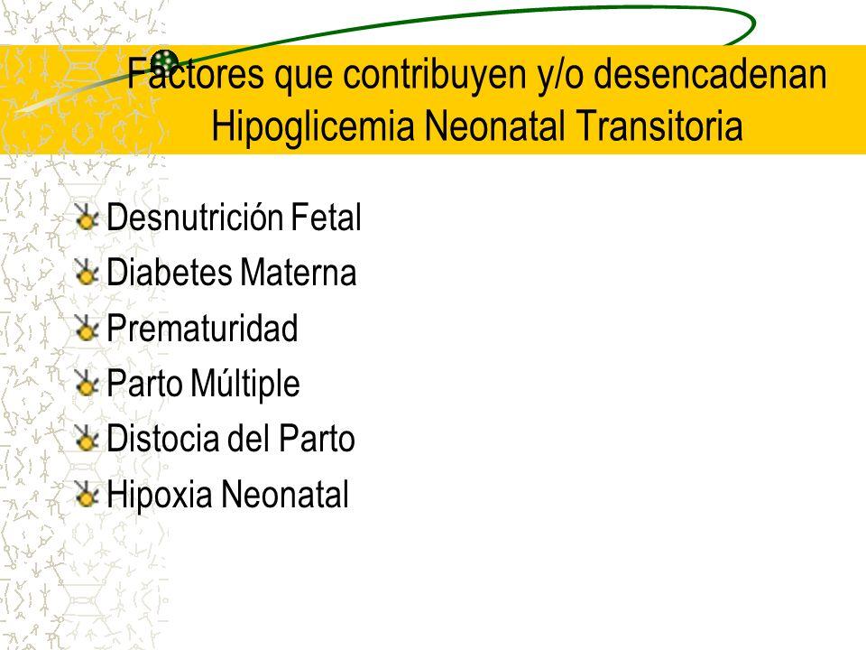 Factores que contribuyen y/o desencadenan Hipoglicemia Neonatal Transitoria