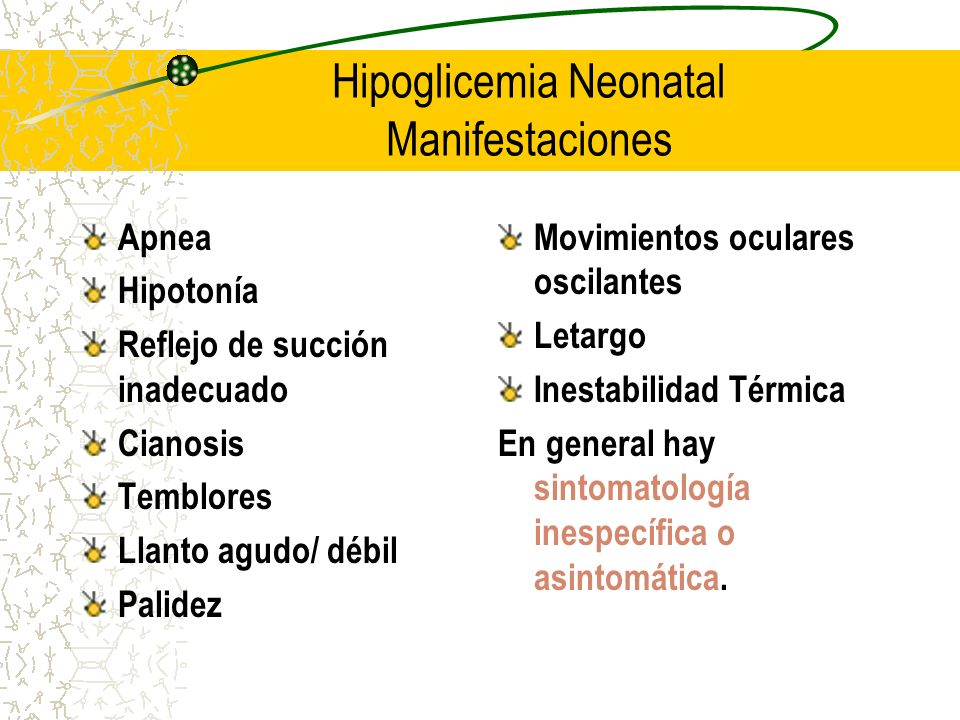 Hipoglicemia Neonatal Manifestaciones