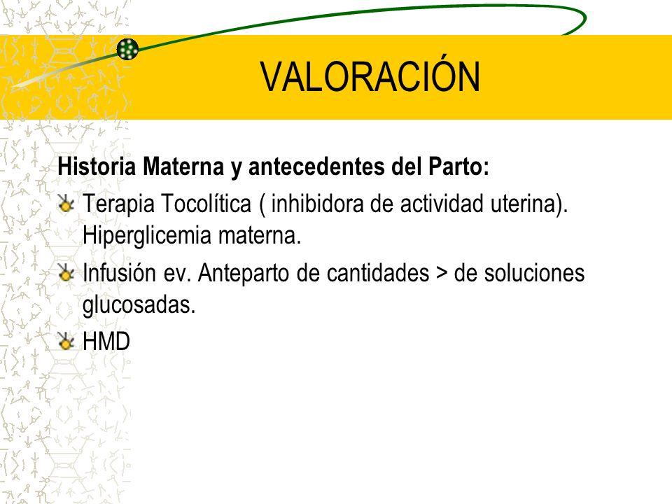 VALORACIÓN Historia Materna y antecedentes del Parto: