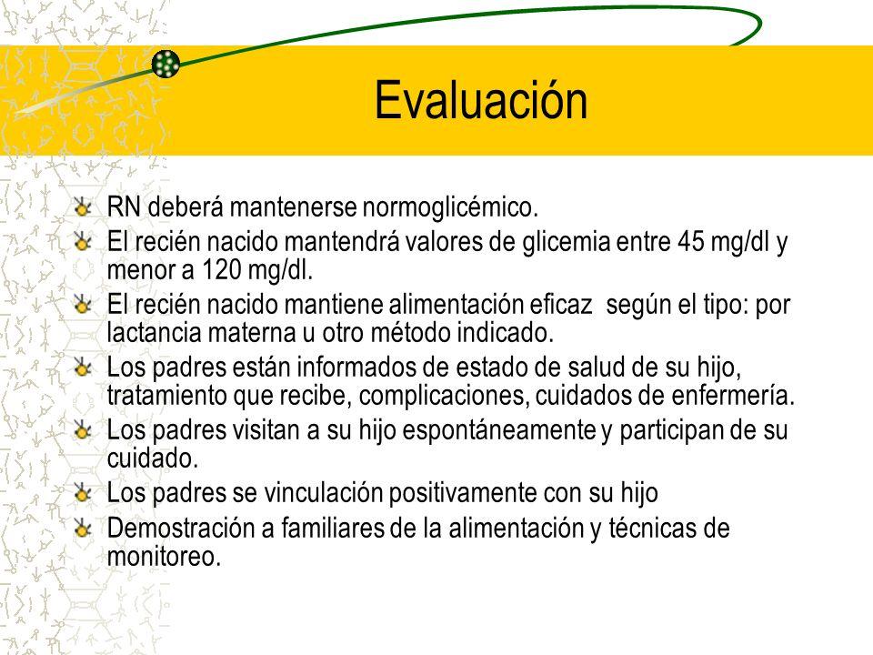 Evaluación RN deberá mantenerse normoglicémico.