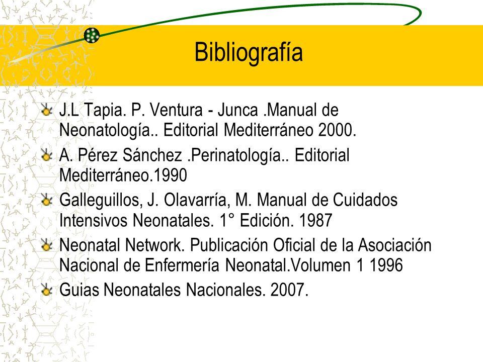 Bibliografía J.L Tapia. P. Ventura - Junca .Manual de Neonatología.. Editorial Mediterráneo 2000.