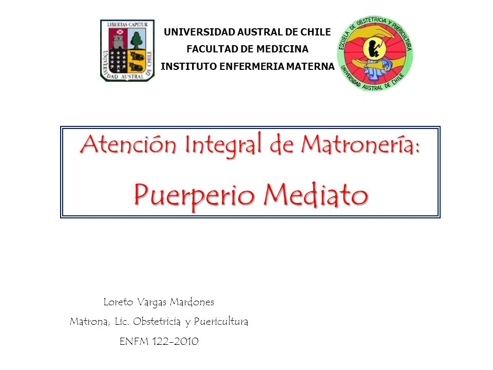 UNIVERSIDAD AUSTRAL DE CHILE INSTITUTO ENFERMERIA MATERNA