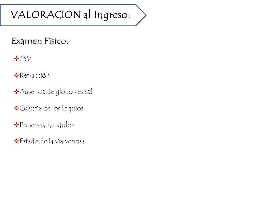 VALORACION al Ingreso: