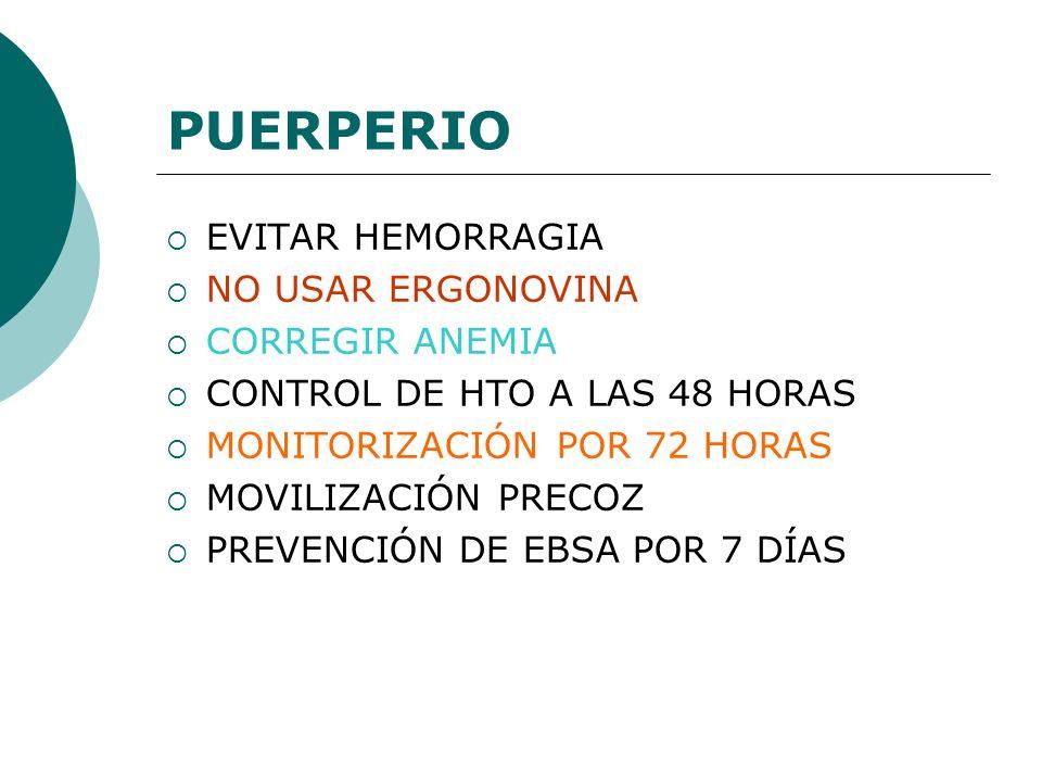PUERPERIO EVITAR HEMORRAGIA NO USAR ERGONOVINA CORREGIR ANEMIA