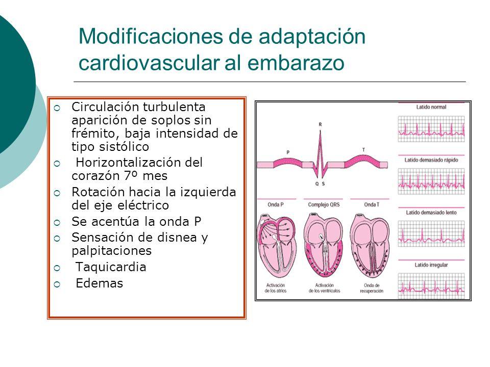 Modificaciones de adaptación cardiovascular al embarazo