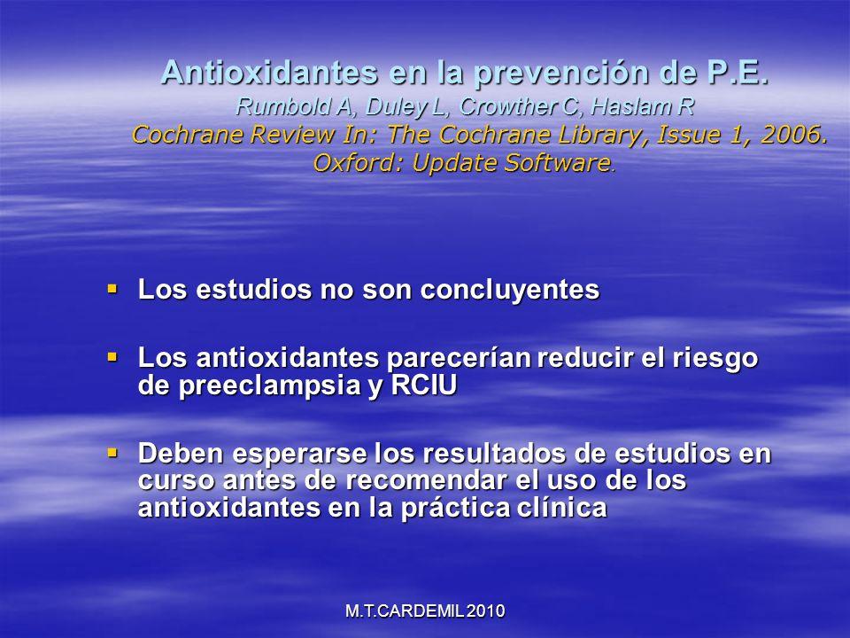 Antioxidantes en la prevención de P. E