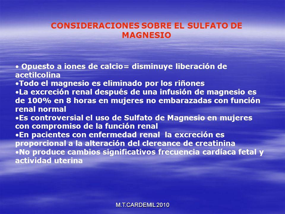 CONSIDERACIONES SOBRE EL SULFATO DE MAGNESIO