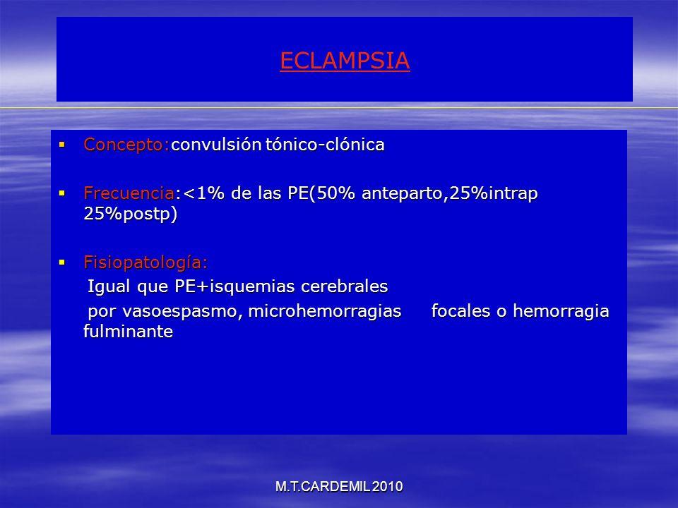 ECLAMPSIA Concepto:convulsión tónico-clónica