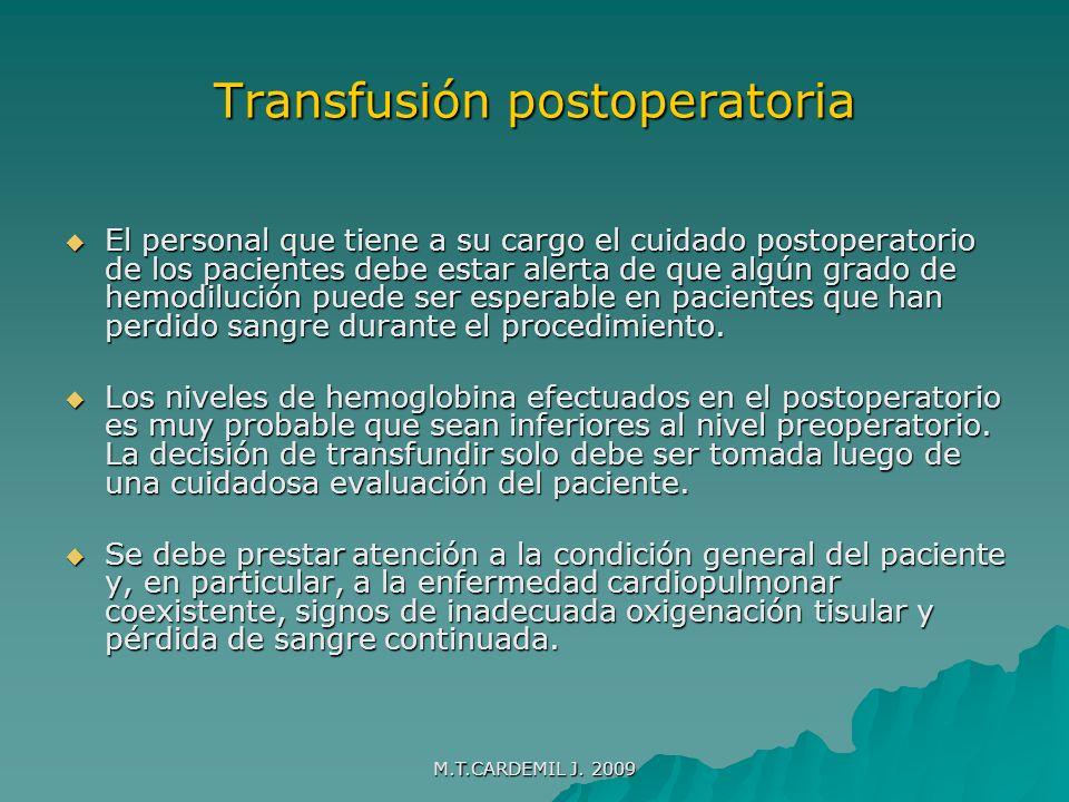 Transfusión postoperatoria