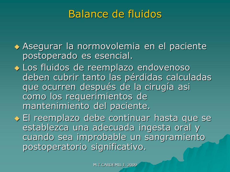 Balance de fluidos Asegurar la normovolemia en el paciente postoperado es esencial.