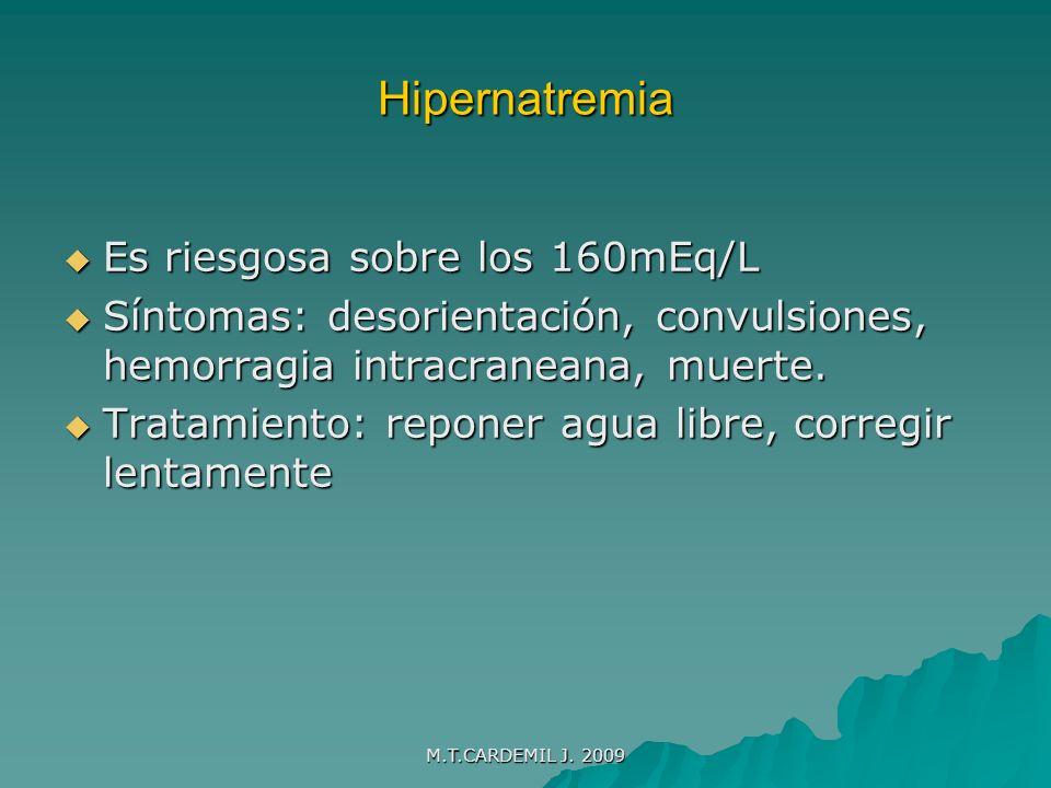 Hipernatremia Es riesgosa sobre los 160mEq/L