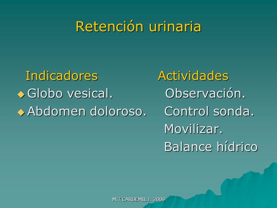 Retención urinaria Indicadores Actividades Globo vesical. Observación.