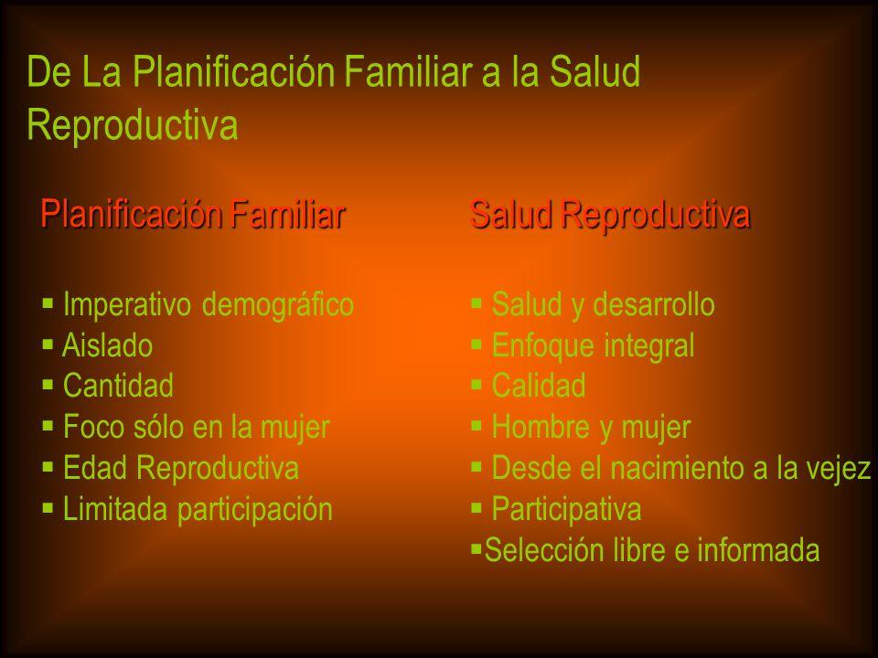 De La Planificación Familiar a la Salud Reproductiva