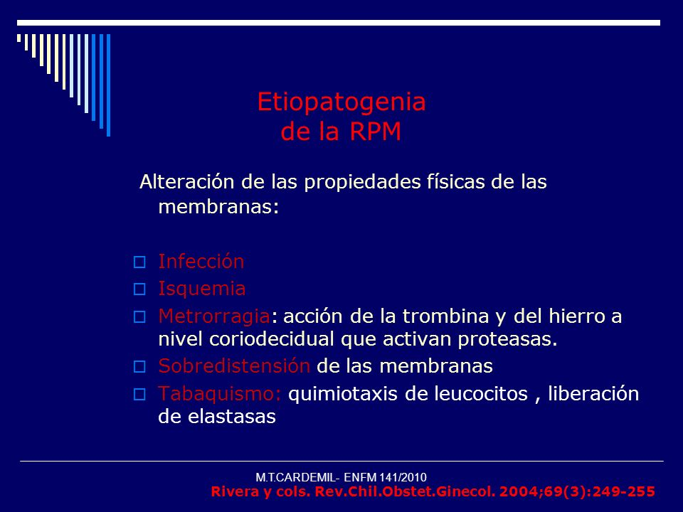 Etiopatogenia de la RPM