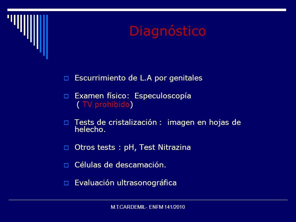 Diagnóstico Escurrimiento de L.A por genitales