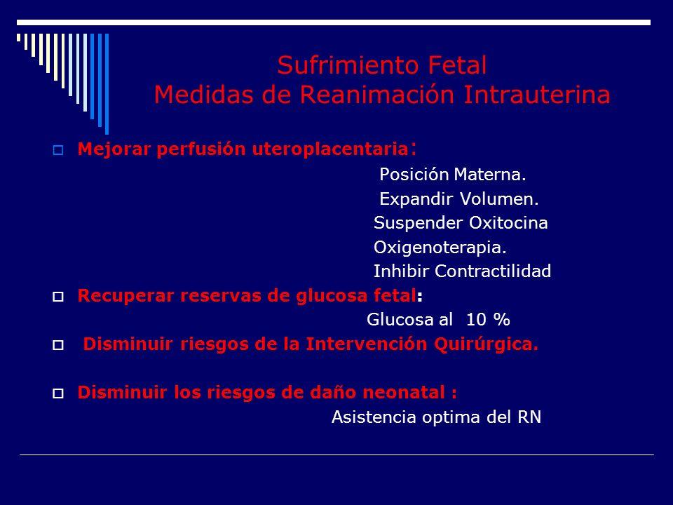 Sufrimiento Fetal Medidas de Reanimación Intrauterina