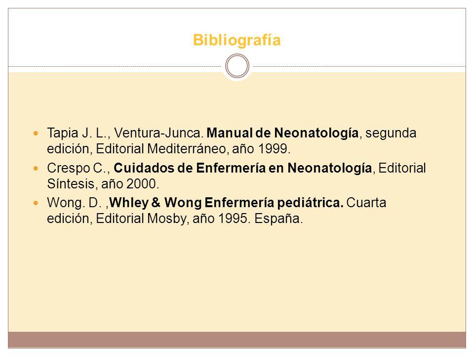 Bibliografía Tapia J. L., Ventura-Junca. Manual de Neonatología, segunda edición, Editorial Mediterráneo, año 1999.