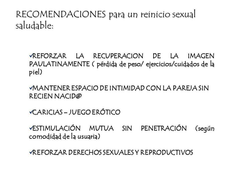 RECOMENDACIONES para un reinicio sexual saludable: