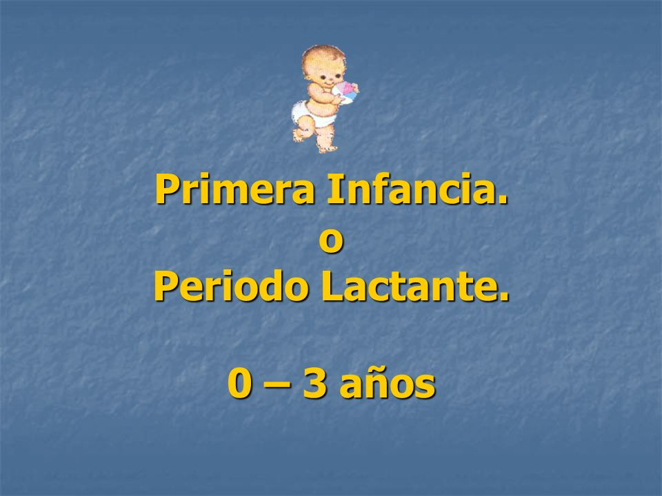 Primera Infancia. o Periodo Lactante. 0 – 3 años
