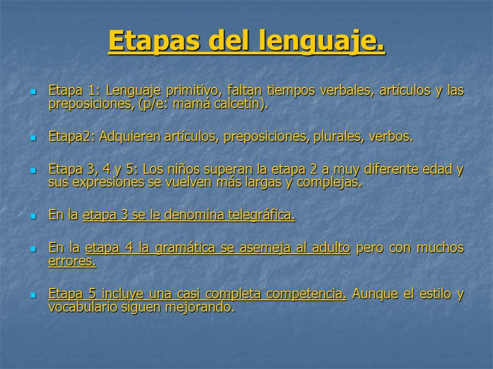 Etapas del lenguaje. Etapa 1: Lenguaje primitivo, faltan tiempos verbales, artículos y las preposiciones, (p/e: mamá calcetín).