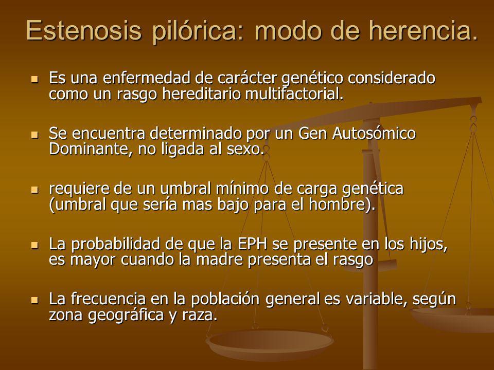 Estenosis pilórica: modo de herencia.