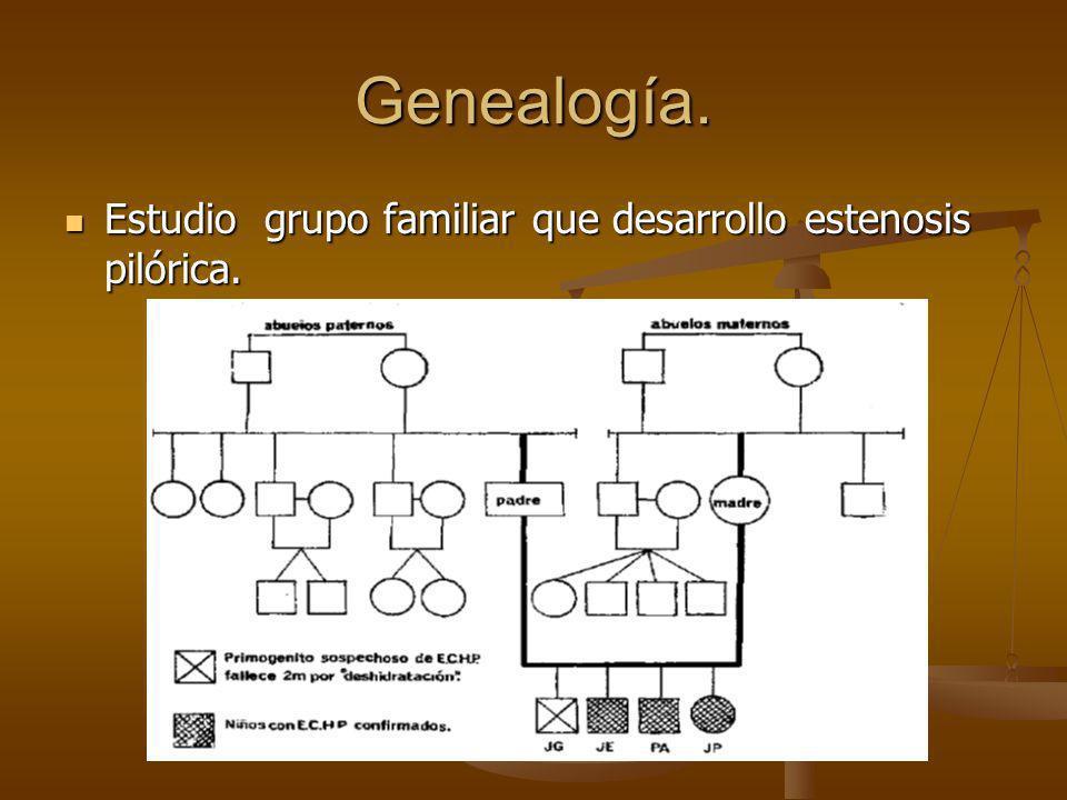 Genealogía. Estudio grupo familiar que desarrollo estenosis pilórica.