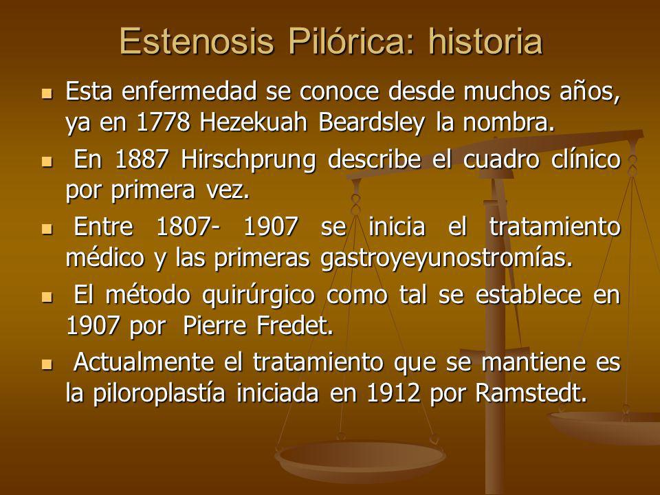Estenosis Pilórica: historia