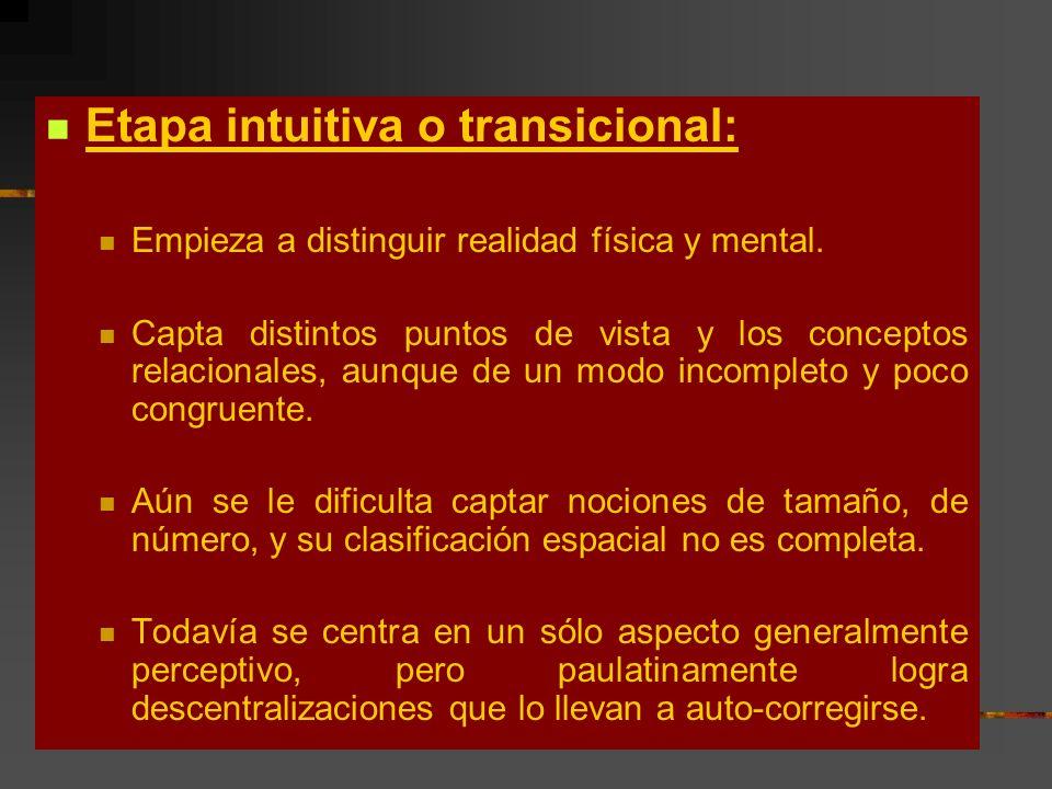 Etapa intuitiva o transicional: