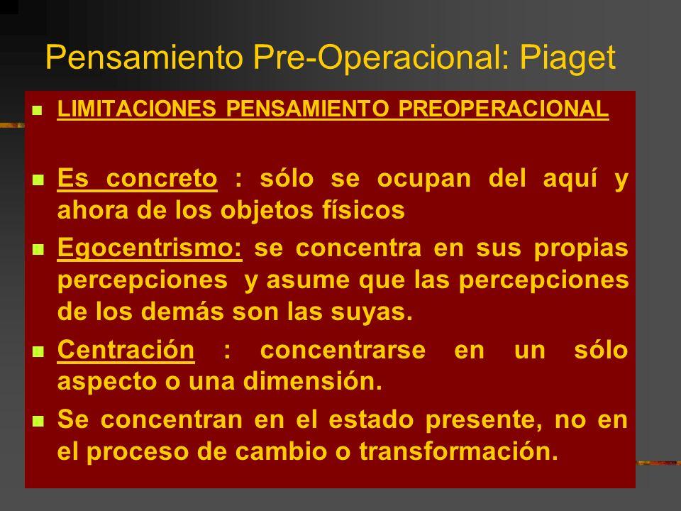 Pensamiento Pre-Operacional: Piaget
