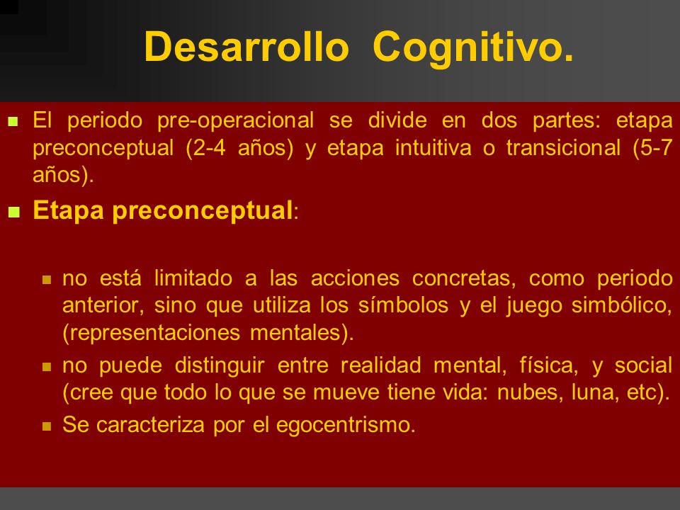 Desarrollo Cognitivo. Etapa preconceptual: