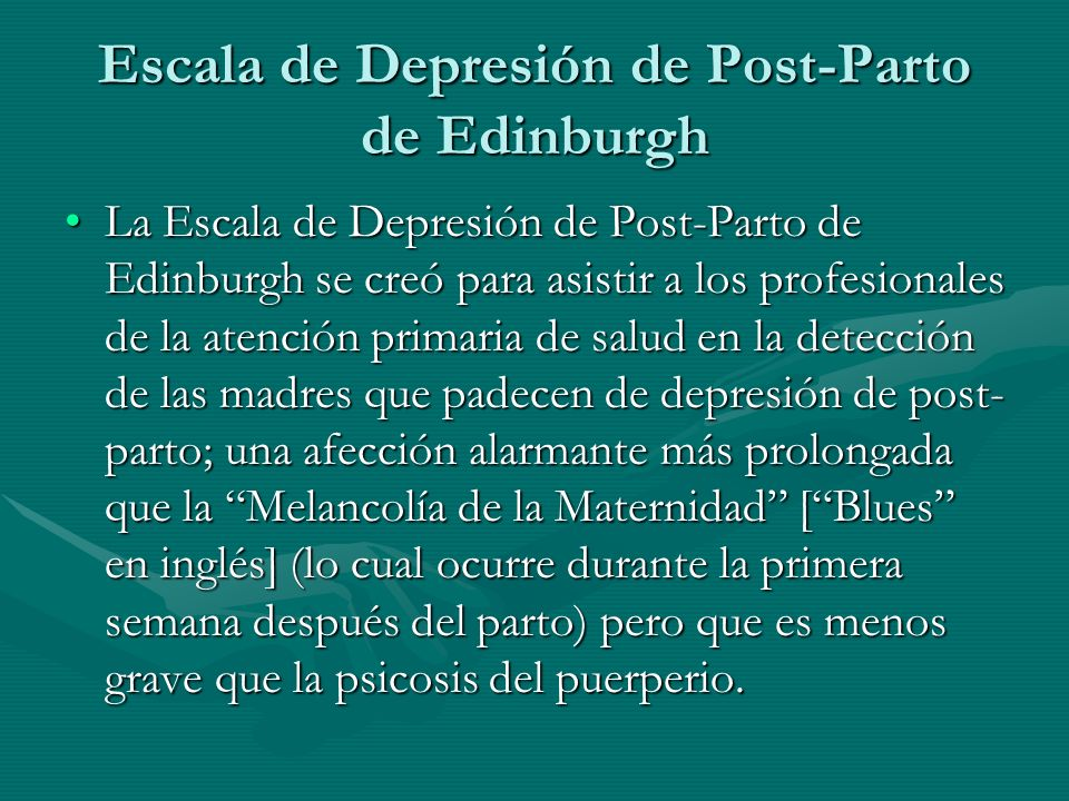 Escala de Depresión de Post-Parto de Edinburgh