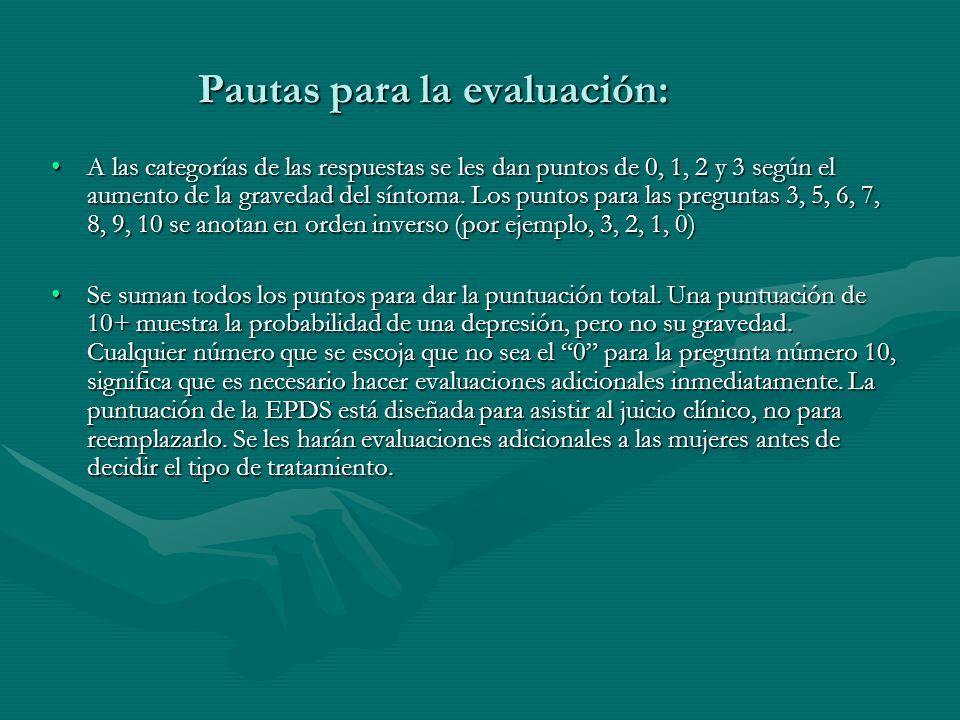 Pautas para la evaluación: