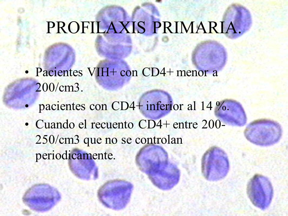 PROFILAXIS PRIMARIA. Pacientes VIH+ con CD4+ menor a 200/cm3.