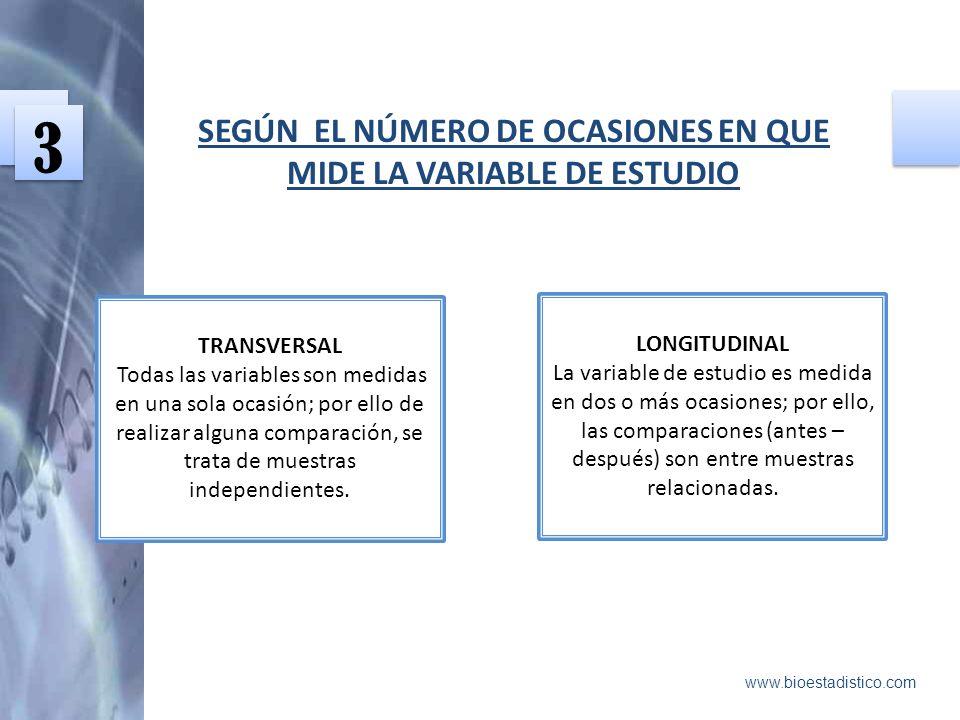 SEGÚN EL NÚMERO DE OCASIONES EN QUE MIDE LA VARIABLE DE ESTUDIO