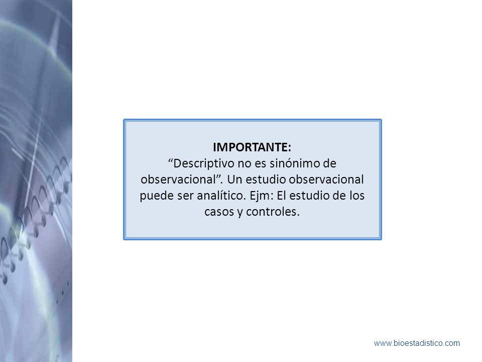 IMPORTANTE: Descriptivo no es sinónimo de observacional . Un estudio observacional puede ser analítico. Ejm: El estudio de los casos y controles.