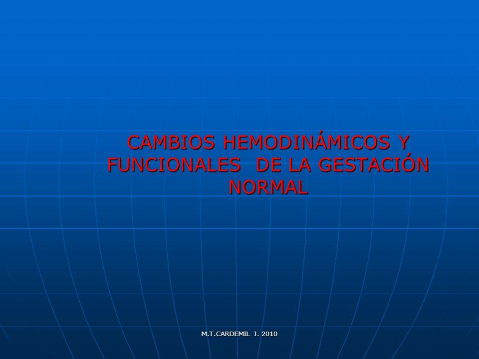 CAMBIOS HEMODINÁMICOS Y FUNCIONALES DE LA GESTACIÓN NORMAL
