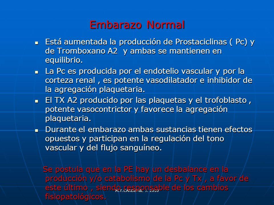Embarazo Normal Está aumentada la producción de Prostaciclinas ( Pc) y de Tromboxano A2 y ambas se mantienen en equilibrio.