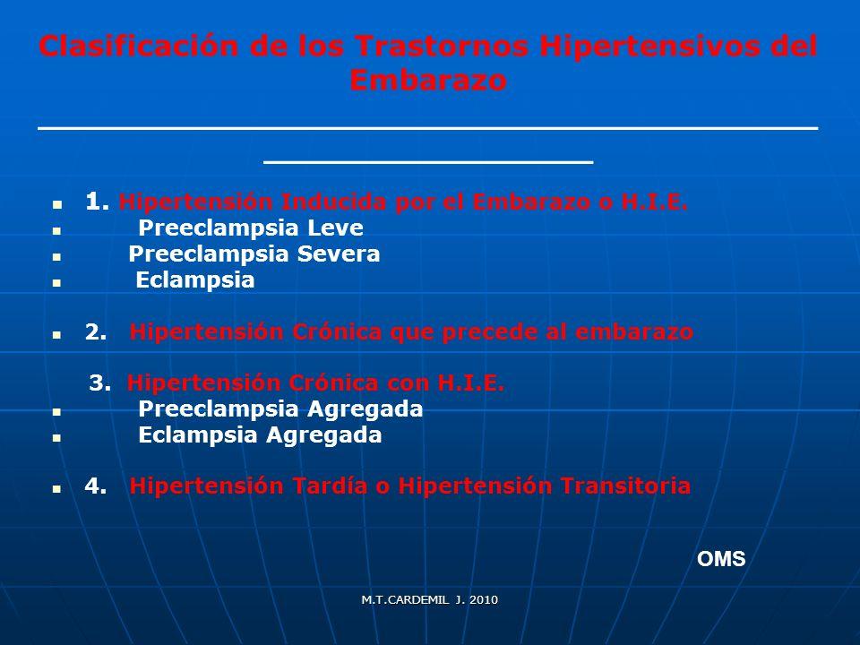 1. Hipertensión Inducida por el Embarazo o H.I.E.