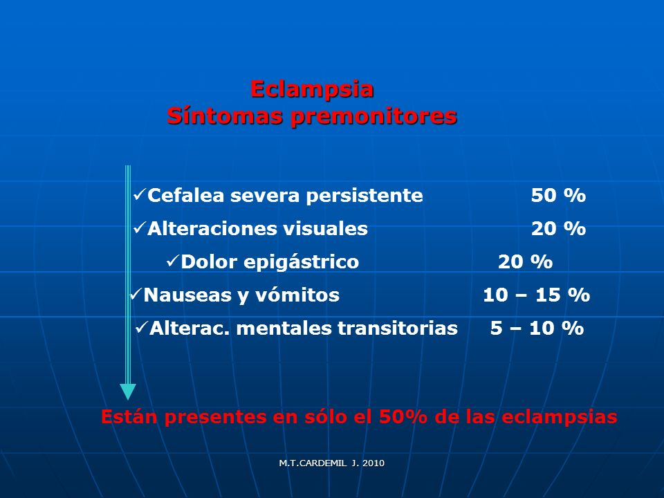 Eclampsia Síntomas premonitores