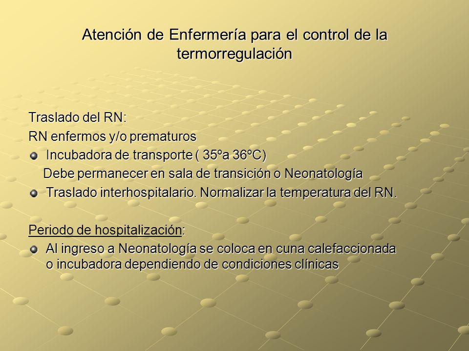 Atención de Enfermería para el control de la termorregulación