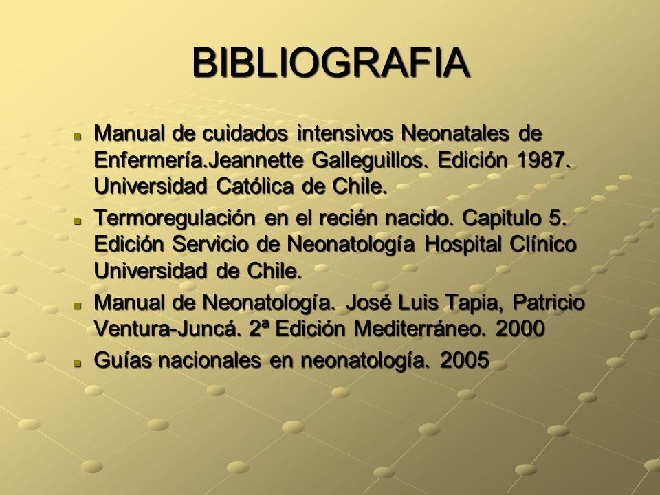 BIBLIOGRAFIA Manual de cuidados intensivos Neonatales de Enfermería.Jeannette Galleguillos. Edición 1987. Universidad Católica de Chile.