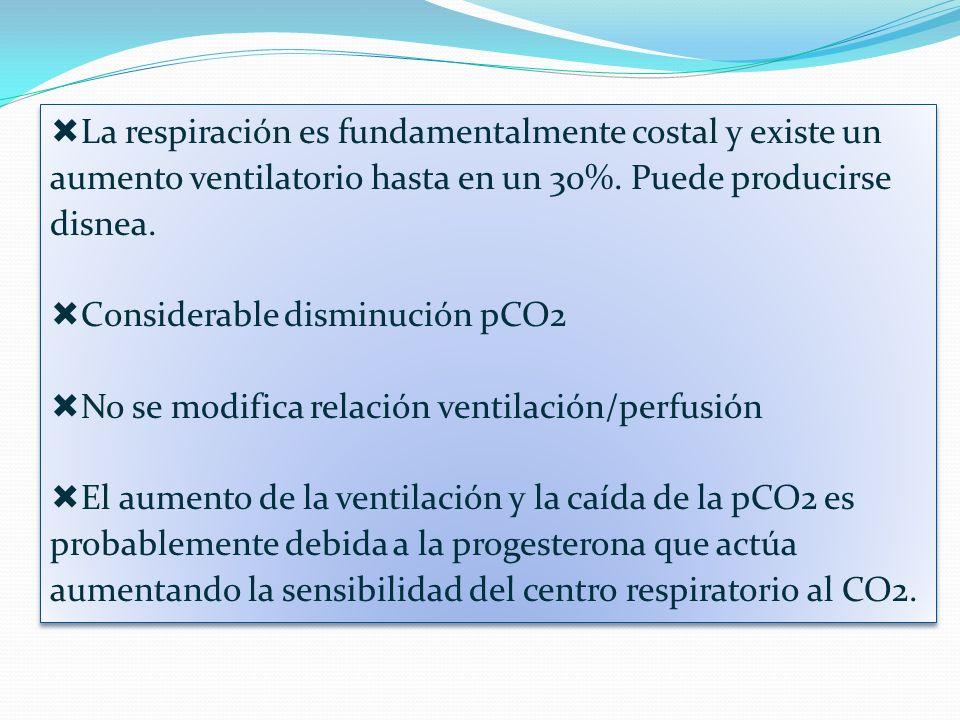 La respiración es fundamentalmente costal y existe un aumento ventilatorio hasta en un 30%. Puede producirse disnea.