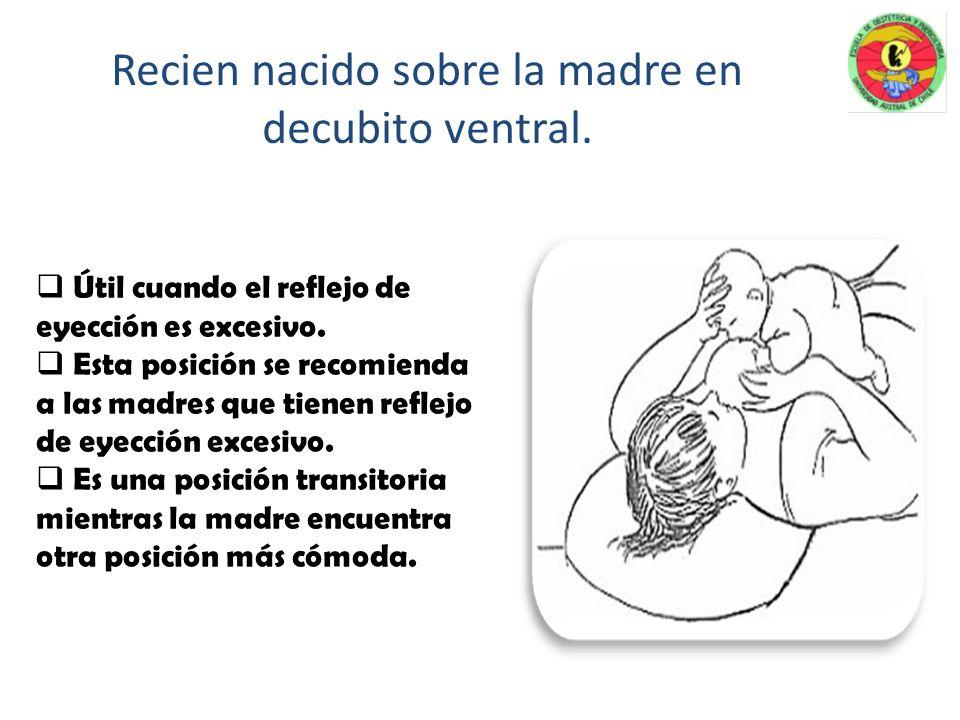Recien nacido sobre la madre en decubito ventral.