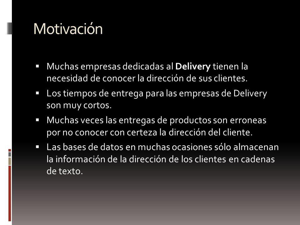Motivación Muchas empresas dedicadas al Delivery tienen la necesidad de conocer la dirección de sus clientes.