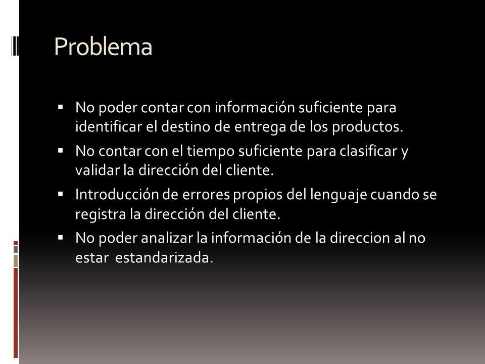 Problema No poder contar con información suficiente para identificar el destino de entrega de los productos.